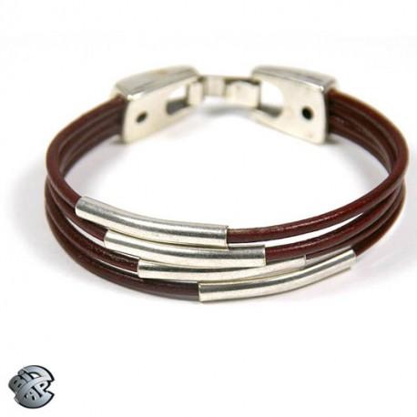 Bracelet cuir 4 tubes