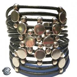 Bracelet cuir Pastille 12 brins
